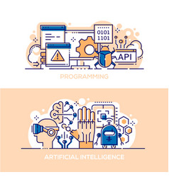 programming and artificial intelligence banner vector image