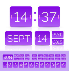 Purple analog counter and flip calendar vector