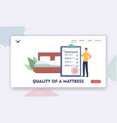 Quality mattress landing page template man vector