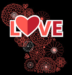 red heart for lovers vector image