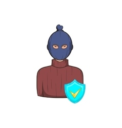 Robbery insurance icon cartoon style vector
