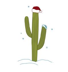 Saguaro cactus wear santa hat for christmas vector