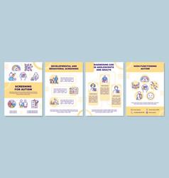 Screening for autism brochure template vector