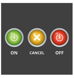 Set 3 coloured buttons on light dark grey vector