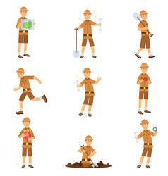 Set archaeologist character actions vector