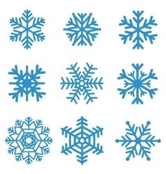 Set blue snowflakes vector