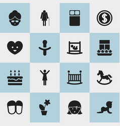Set of 16 editable relatives icons includes vector