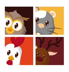 Set of cute animals vector