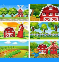 six different scenes of farm vector image