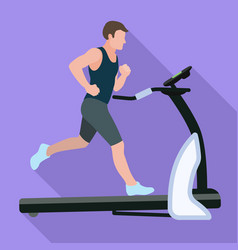 Sportsman treadmill icon flat style vector