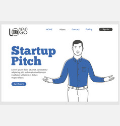 Startup pitch landing page in thin line style vector