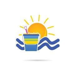 Sun icon with beach basket color vector