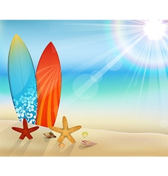 Sunrise beach with surfboard and clam shells vector
