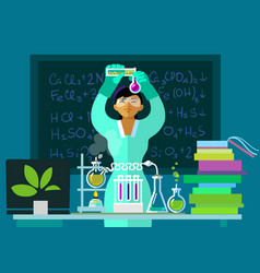 Teacher woman make chemistry experiment in vector