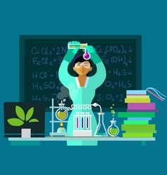 Teacher woman make chemistry experiment vector
