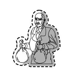 Thief cartoon with money bag design vector