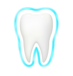 Tooth protection aura glow realistic 3d vector