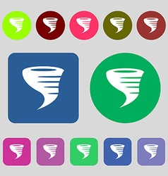 Tornado icon 12 colored buttons Flat design vector