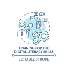Training for digital literacy turquoise vector
