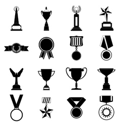 Trophy and awards simple icons set vector image