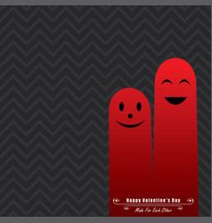 valentine card with cute finger face vector image
