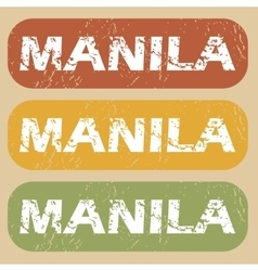 Vintage Manila stamp set vector