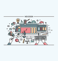 Web development line art banner site vector