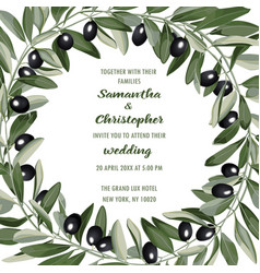Wedding invitation card with olive brunches vector