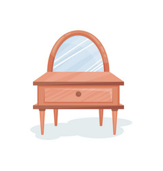 Wooden dressing table with mirror interior design vector