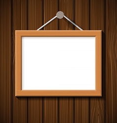 wooden frame on the background of brown wall vector image