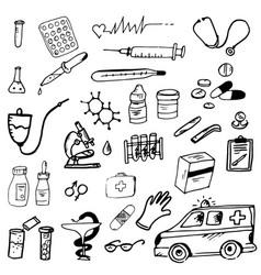 doodle medicine medicine ambulance vector image
