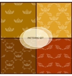 Seamless pattern set with crown and floral vector image vector image