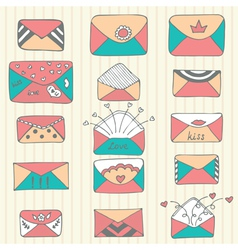 Set of hand drawn mailing envelopes Sketch style vector image