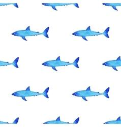Watercolor shark pattern vector image vector image
