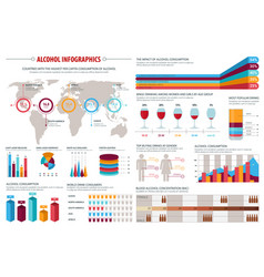 alcohol drinks consumption infographics design vector image vector image