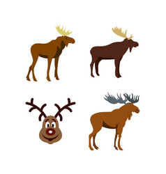 deer icon set flat style vector image vector image