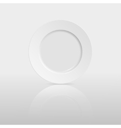 Empty plate with reflection on white background vector image