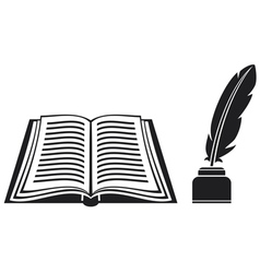 feather and book vector image vector image