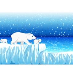 funny polar bear family with snow mountain vector image vector image