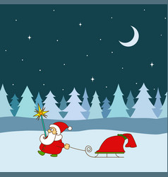 greeting card for christmas new year santa claus vector image