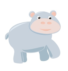Happy hippo baby isolated on white background vector image