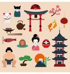 Japan landmark travel icons elements vector