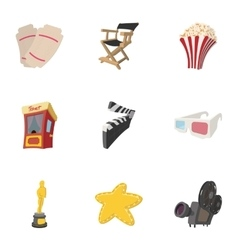 Motion picture icons set cartoon style vector image vector image