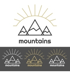 Mountains camp logo with sunrise behind the hills vector image vector image