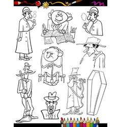 retro people set cartoon coloring page vector image vector image