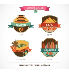 World Cities labels - Kyoto Giza Adelaide Hong vector image vector image
