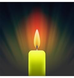 Burning Single Yellow Candle vector image