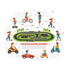 children racing stadium composition vector image vector image