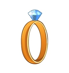 Classic gold ring with blue gemstone vector