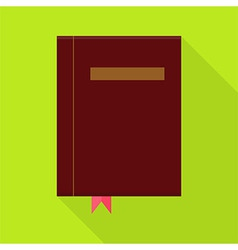 Flat Book with Bookmark and Long Shadow vector image